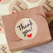 "New Kraft ""THANK YOU""Heart Sticker Label Envelope Bonbonniere Gift Box DIY Decor"