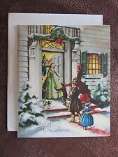 Vintage Christmas Card UNUSED People Family Visiting w/ Gifts Girl in Dress