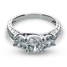 2.73 Ct Three Stone Lab Engagement Ring Lifetime Warranty Solid 14K White Gold