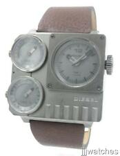 New Diesel Men 3 Time Zone Brown Leather Oversize Watch 57mm x 54mm DZ7249 $325