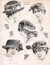 """11x14"""" CANVAS Decor.Room design art print..Nouveau French fashion hats.6165"""