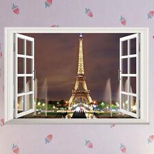 3D Window Paris Night Eiffel Tower Wall Sticker Vinyl Decal Art Mural Home Decor