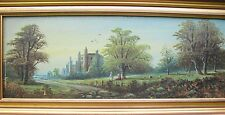 Antique Original Oil Painting on Board Henry Bates Joel COUNTRYSIDE&CASTLE