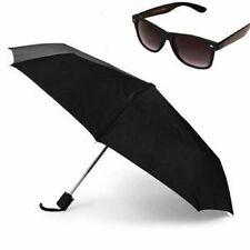 3 Fold Full Size Automatic Umbrella With Black Wayfarer Sunglasses