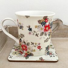 VINTAGE STYLE SHABBY DAISY FLORAL CHIC FINE CHINA TEA COFFEE MUG & COASTER GIFT