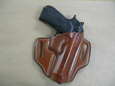 Taurus PT 92, 99, 100, 101 OWB Leather 2 Slot Molded Pancake Belt Holster TAN RH
