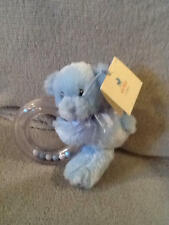 "GUND BABY MY FIRST TEDDY BLUE RING RATTLE BEAR PLUSH STUFFED ANIMAL 5"" NWT"