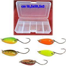 kit 5 ondulanti 3g cucchiaini scatola artificiali pesca trota lago spinning