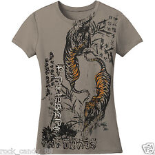 DEFTONES Twin Tigers T-shirt Slim Fit Baby Doll Tee JUNIORS LARGE Gray New
