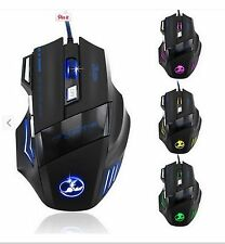 Colorful LED Optical 2000 DPI 7 Button USB Wired Gaming Mouse Mice for Pro Gamer