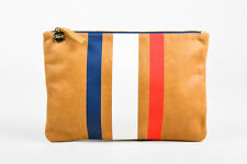 Clare V Tan Red White Navy Blue GHW Leather Striped Zip Top Pouch Clutch
