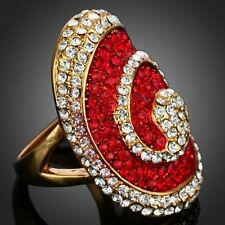 Ring 18k gold GP, Alloy Clear Austrian crystal Red Crystals,RING SIZE 9