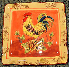 "ORANGE ROOSTER & Sunflowers 11"" Square PLATE Pottery Majolica Dinner Serving NEW"
