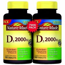 Nature Made Vitamin D3 2000 IU Supplement 100 Tablets Pack of 2 = 200 ct Total