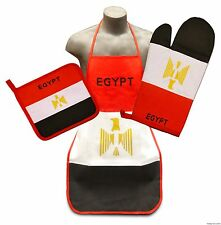 Egypt Flag Kitchen & BBQ Set *NEW* w/ Apron Oven Mitt & Pot Holder Egyptian Flag
