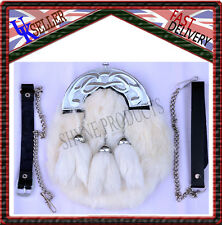 FULL DRESS SPORRAN WHITE RABBIT FUR & CHROME CELTIC CANTLE 3 WHITE TASSELS