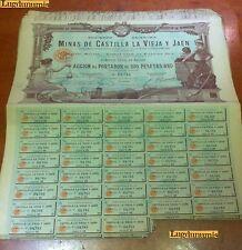 Minas de Castilla La Vieja Y Jaén 24 ABril 1902 Madrid 500 Pesetas Oro