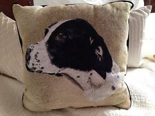 German Short Haired Pointer Dog Jacquard Woven Cotton Tapestry Throw Pillow NEW