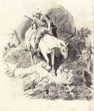 Theodor Horschelt, tschetschenischer Krieger, Bleistiftzeichnung, signiert, 1867