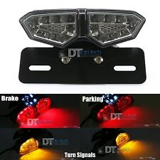 Smoke LED Motorcycle Brake Tail Turn Signal License Plate Integrated Light