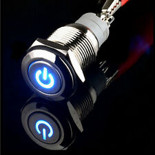 16mm 12V Blue Power LED Momentary metal Push Button Switch car boat on sales