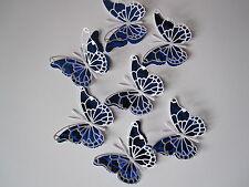 12 medio 3D Die Cut Mariposa Toppers en Azul E/Blanco