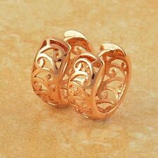 Artistic 9K Rose Gold Filled Openwork Womens Hoop earing Free Shipping
