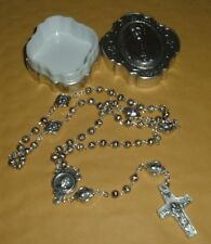 MADE IN ITALY POPE FRANCIS SILVER METAL ROSEBUD BEAD ROSARY VEDELE CROSS w/ CASE