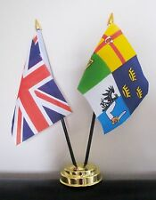 UNION JACK AND 4 PROVINCES OF IRELAND TABLE FLAG SET 2 flags plus GOLDEN BASE