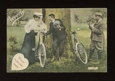 CYCLING Bicycles Romance Lady & Suitors Proverbs pre1919 PPC by J Welch