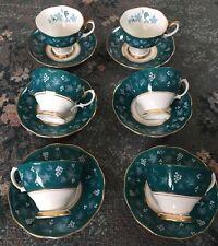 Impresionante raro conjunto de 6 Tazas y Platillos Royal Albert Nancy-Chateau Serie