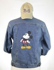 VINTAGE 90'S THE DISNEY STORE DENIM JEAN JACKET & HAT COMBO MENS M MICKEY MOUSE