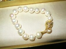 Lovely 11-13mm white freshwater pearl Art Deco style bracelet gold panther clasp