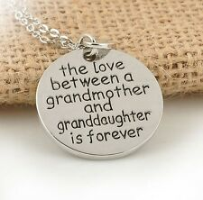 HOT Family Pendant Necklace Gift The Love Between Grandma and Granddaughter Love