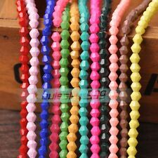 4mm/6mm Color Coated Opaque Bicone Faceted Glass Loose Spacer Beads Wholesale