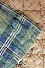 Antique French plaid 18th and 19th century fabric quilt green blue plaid baby