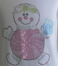 """7.5""""  Pink Peppermint Candy Christmas iron on rhinestone transfer for t shirt"""