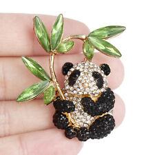 Panda Baby Animal Bamboo Brooch Pin Clear w Black Austrian Crystal Gold GP Women