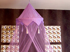 Purple Crown Tassle Bed Mosquito Net Single Double Insect Fly Protection Canopy