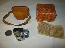 VINTAGE RETRO JAPAN MINIATURE HIT SPY PHOTO CAMERA FILM BOX LEATHER CASE MOVIE