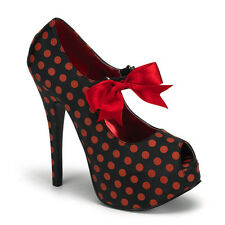"* Bordello 5.75"" Heel Black Red Polka Dot Platform Heels Shoes 6"