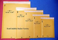 18 KRAFT BUBBLE MAILING PADDED ENVELOPE VARIETY COMBO ~ 5 POPULAR SIZES ~