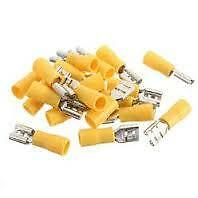 20 Yellow Fully Insulated Spade Electrical Crimp Connectors- Mixed Male & Female
