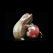 Hedgehog with Apple Solid Bronze Foundry Cast Sculpture Michael Simpson 923