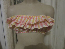 TopShop Top Size 12 BNWT Gingham Frill Bralet Crop Straps Bra Bandeau Dress Up