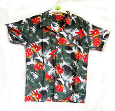 "Boy's loud Hawaiian shirt, for 14 year old, 40"" chest, green GUITAR pattern, new"