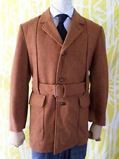 NORFOLK JACKET Catalina Martin gold tan tweed belted blazer sport coat 38