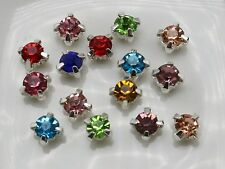 250 Silver Mixed Color Crystal Glass Rose Montees 4mm Sew on Rhinestones Beads