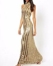 Virgos Lounge Gold Trophy Halter Evening Wedding Maxi Cocktail Dress 12 40 £125