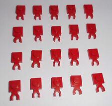 Lego (4085) 20 Platten 1x1 mit Clip waagerecht, in rot aus 7240 6097 5980 4955